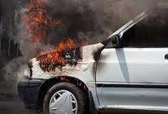 آتش سوزی خودرو پراید روبروی ترمینال آبادان