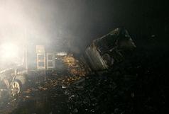مهار بموقع آتش سوزی مغازه زغال فروشی در