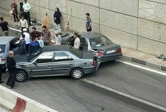 تصادف زنجیرهای 13 خودرو در همدان