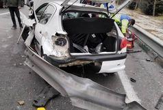 تصادف شدید خودرو 206 در اتوبان یادگار امام تهران/ پای راننده قطع شد+ عکس