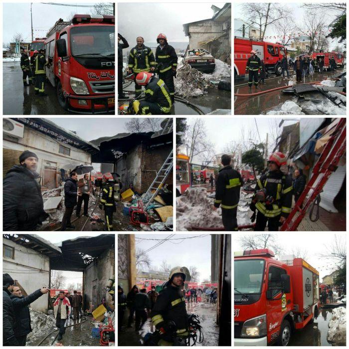 آتش سوزی سقف چندین باب مغازه در رشت