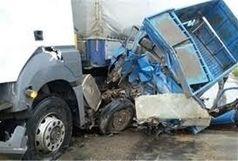 یک کشته و یک مجروح در تصادف هولناک نیسان با کامیون ولوو