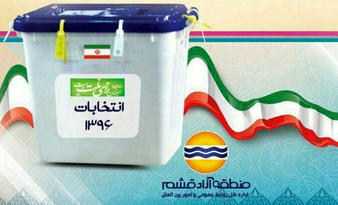 ثبت رکورد منطقه آزاد قشم در انتخابات ۹۶ / ثبت رتبه اول در مشارکت بین مناطق آزاد کشور