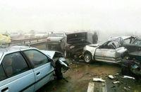 تصادف زنجیرهای وحشتناک ۳۰ خودرو