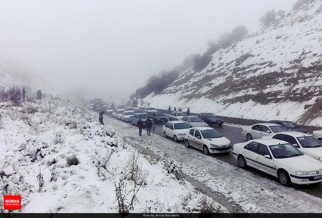 بارش برف و باران در محورهای ۹ استان