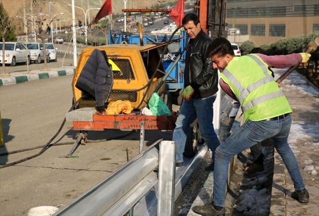 ایمنسازی معابر اصلی دانشگاه آزاد اسلامی علوم و تحقیقات با نصب گاردریل