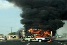 راننده پژو پارس در آتش سوخت