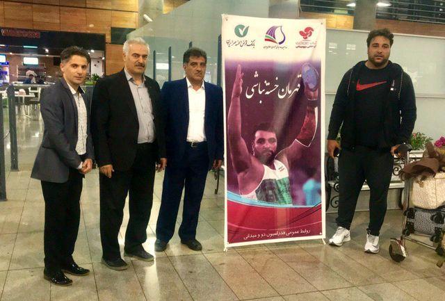 حدادی با استقبال مسئولین فدراسیون دوومیدانی وارد تهران شد