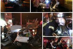 یک کشته و 3 مجروح دربرخورد شدید خودرو با تیر چراغ برق