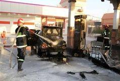 آتش پژو 405 به جان جایگاه سوخت !