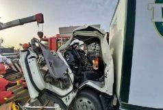 تصادف مرگبار کامیون ها در جاده ساوه