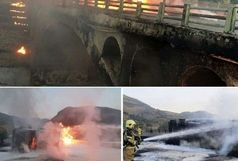 یک کشته در پی واژگونی و حریق تانکر حامل سوخت در محور جاجرود