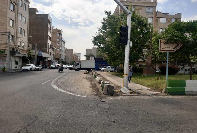آغاز عملیات اصلاح هندسی تقاطع خیابانهای مهران و شهید مطهری