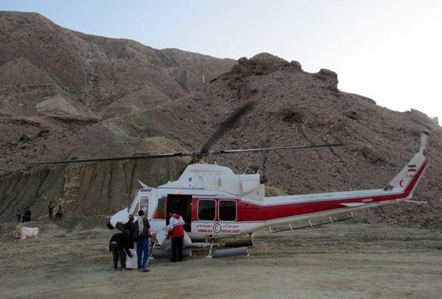 ارسال اولین محموله اقلام امدادی بوسیله بالگرد به روستای آوین علیا