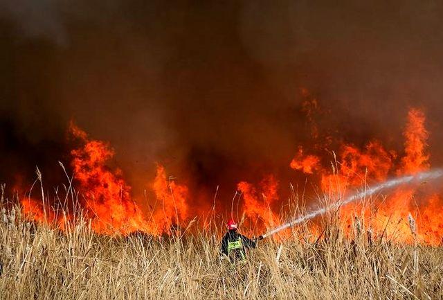آتش به جان تالاب کانی برازان مهاباد افتاد