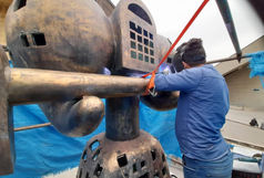 کلید مجسمه فرهاد قفل زن مرمت و دوباره نصب شد