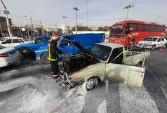 خودروی سواری طعمه آتش شد