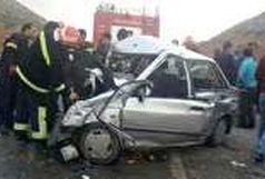تصادف رخ به رخ کامیون و پراید با یک کشته
