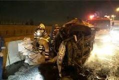 واژگونی کامیون حاوی میلگرد در شلوغ ترین اتوبان اصفهان
