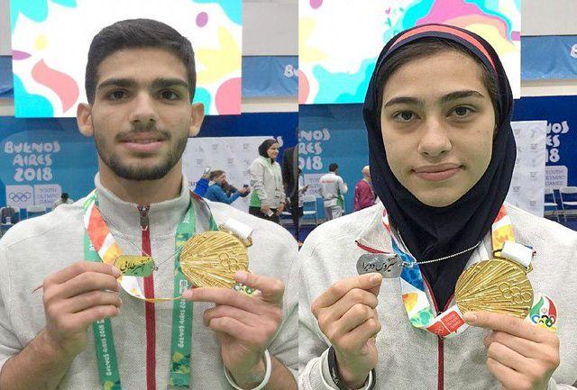 ولینژاد و اشکوریان مدالهای زرین خود را به قهرمانان ماندگار ایران تقدیم کردند