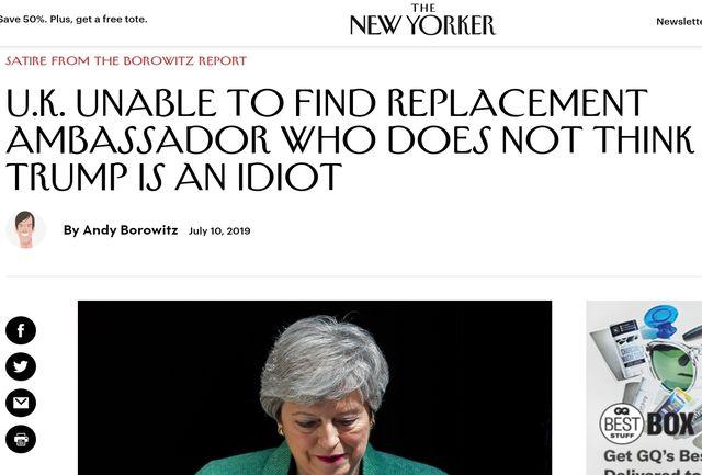 طنز ویرانگر نیویورکر علیه ترامپ/ انگلیس سفیری که ترامپ را احمق نداند پیدا نکرد