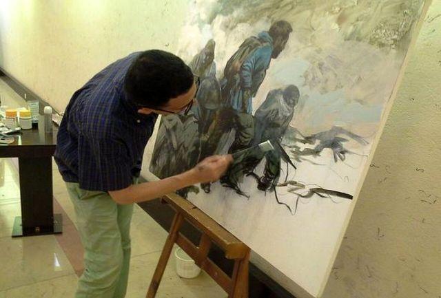 اجرای زنده نقاشی حسن روح الامین در جشنواره «هنر مقاومت»