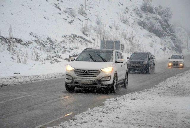 بارش برف و باران در مسیر هراز و فیروزکوه
