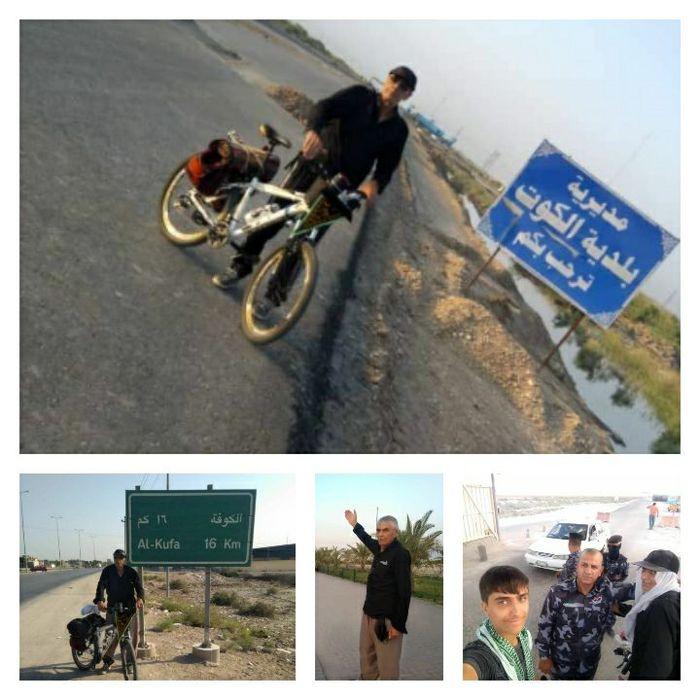 رکاب زنی دوچرخه  سوار ۷۰ساله  ملکشاهی تا کربلا