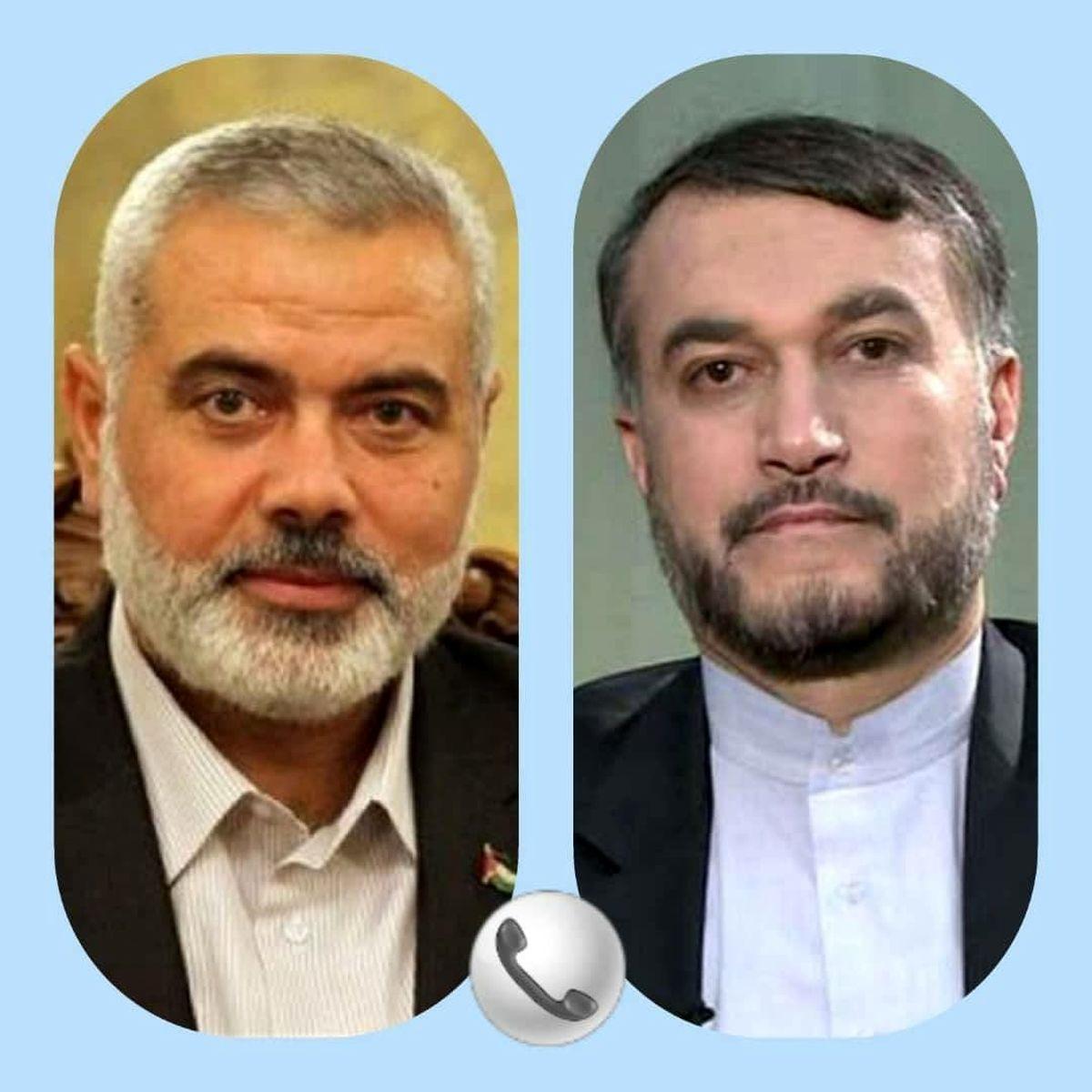 گفتگوی تلفنی اسماعیل هنیه با وزیر امور خارجه