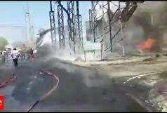 انفجار ترانس بزرگ برق نیروگاه مدحج حادثه ساز شد/اعزام یکی از نیروهای آتش نشان به مرکز درمانی+ببینید