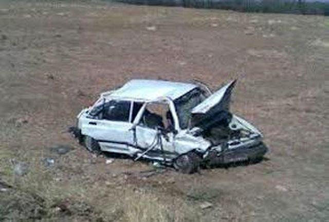 یک کشته و 4 مجروح در اثر واژگونی سواری پراید