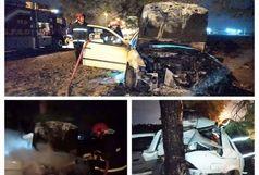 آتش سوزی خودرو در برخورد با درخت