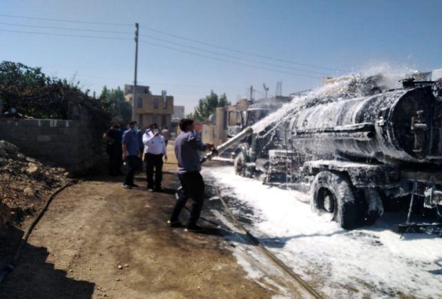 جزئیات کامل آتش سوزی خودروی قیرپاش شهرداری یاسوج+ببینید